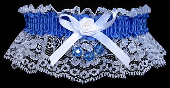 True Blue Garter on White Lace for Wedding Bridal Prom with Faceted Beads
