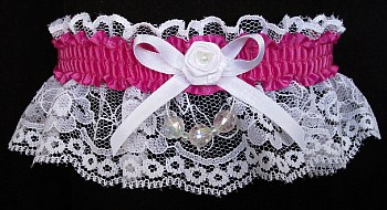 Wild Berry Faceted Beads Garter on White Lace for Homecoming
