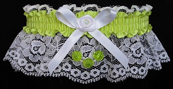 Pistachio Faceted Beads Garter on White Lace for Homecoming