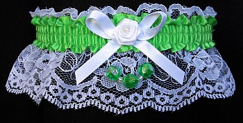 Pure Green Faceted Beads Garter on White Lace for Homecoming