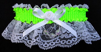 Key Lime Faceted Beads Garter on White Lace for Homecoming