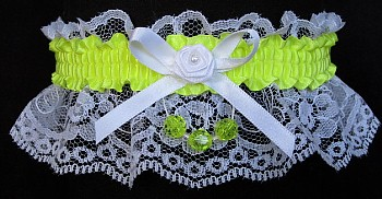 Pineapple Faceted Beads Garter on White Lace for Homecoming