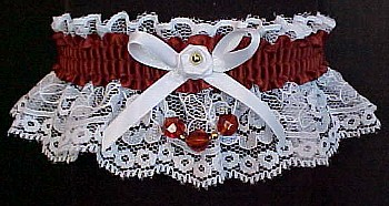 Auburn Faceted Beads Garter on White Lace for Wedding Bridal or Prom