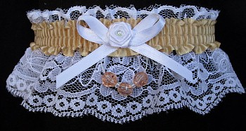 Raw Silk Faceted Beads Garter on White Lace for Homecoming