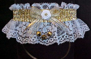 Swank It Up with Gold Metallic Fancy Bands™ Garters w/ Gold Faceted Beads on white lace. Prom Garter - Wedding Garter - Bridal Garter