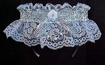 Silver and White Garterwith Silver Metallic Fancy Bands™ and Faceted Beads on white lace. Prom Garter - Wedding Garter - Bridal Garter