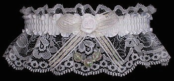 White Lace Wedding Bridal Garter with Crystal Aurora Borealis Faceted Beads. garders, garder