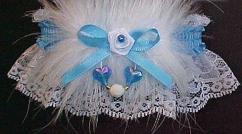 Aurora Borealis Hearts Garter w/ Colored Band or Trim and Marabou Feathers on White Lace for Wedding Bridal or Prom