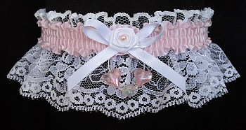 Icy Pink Aurora Borealis Hearts Garter on White Lace for Wedding Bridal Prom