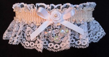 Nued AB Aurora Borealis Hearts Garter on White Lace for Wedding Bridal Prom
