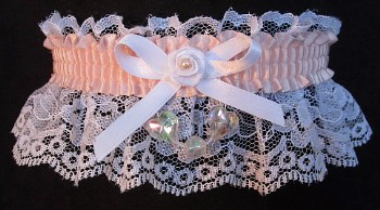 Moonstone AB Aurora Borealis Hearts Garter on White Lace for Wedding Bridal Prom