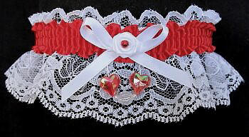 Red and White Garter with Aurora Borealis Hearts on White Lace for Wedding Bridal Prom Valentine