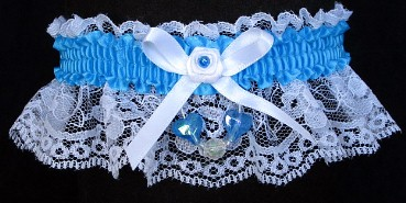 Neon Island Blue Garter with Blue Aurora Borealis Hearts on White Lace for Wedding Bridal Prom