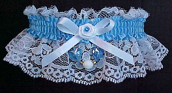 Aurora Borealis Hearts Garter w/ Colored Band or Trim on White Lace for Wedding Bridal or Prom