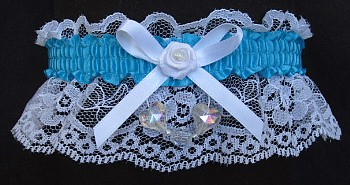 Turquoise Aurora Borealis Hearts Garter on White Lace for Wedding Bridal Prom