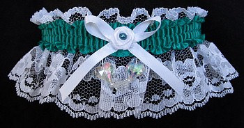 Mallard Aurora Borealis Hearts Garter on White Lace for Wedding Bridal Prom