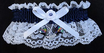 Navy Aurora Borealis Hearts Garter on White Lace for Wedding Bridal Prom