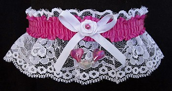 Wild Berry Aurora Borealis Hearts Garter on White Lace for Wedding Bridal Prom
