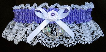 Delphinium Aurora Borealis Hearts Garter on White Lace for Wedding Bridal Prom