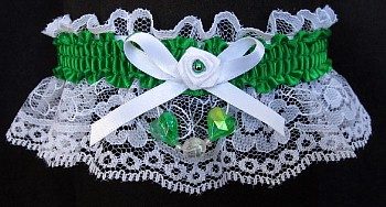 Emereald Aurora Borealis Hearts Garter on White Lace for Wedding Bridal Prom