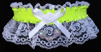 Neon Yellow Garter with Aurora Borealis Hearts on White Lace for Wedding Bridal Prom