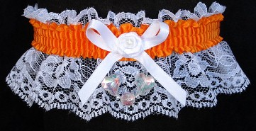 Neon Orange Garter with Aurora Borealis Hearts on White Lace for Wedding Bridal Prom