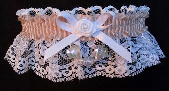 Peach Shadow Aurora Borealis Hearts Garter on White Lace for Wedding Bridal Prom