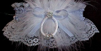 Something Blue Keepsake Wedding Garter. Silver Beaded Rings.
