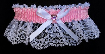 Pearl Pink Rhinestone Garter for Prom Wedding Bridal on White Lace