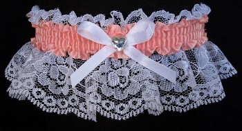 Coral Ice Rhinestone Garter for Prom Wedding Bridal on White Lace