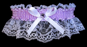 Lt Orchid Rhinestone Garter for Prom Wedding Bridal on White Lace