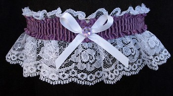 Amethyst Rhinestone Garter on White Lace for Prom Wedding Bridal Valentine