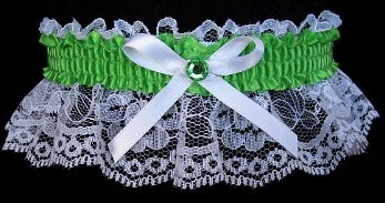 Pure Green Rhinestone Garter for Prom Wedding Bridal on White Lace
