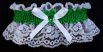 Emerald Green Rhinestone Garter for Prom Wedding Bridal on White Lace