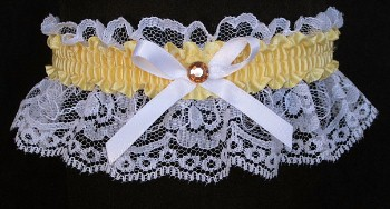 Chamois Yellow Rhinestone Garter for Prom Wedding Bridal on White Lace