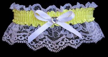 Baby Maize Yellow Rhinestone Garter for Prom Wedding Bridal on White Lace