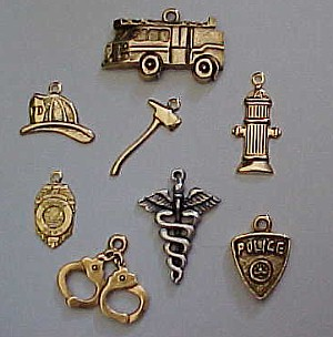 Charms. Fireman Stuff, Fire Truck, Fireman Hat, Fireman Axe, Fire Hydrant, Police Badge, Police Handcuffs, Medical Sign, Police Shield