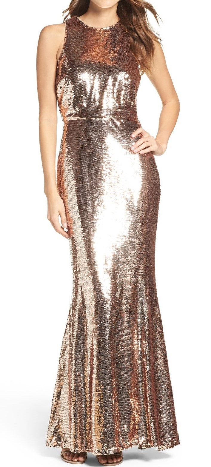 Metallic Gold Prom Dress