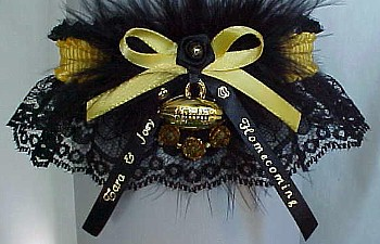 Homecoming Garter Feature with Marabou Feathers, Football Charm, Personalized Homecoming Ribbon Tails. Personalized Homecoming Garters in Your School Colors. garders, garder