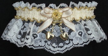 Ivory & Gold Garter with Moire Band & 2 Gold Hearts. garders, garder