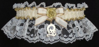 Ivory and Gold Garter. Ivory & Gold Garters with Moire Band & Gold Love Script Charm. garter, garders, garder