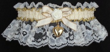 Ivory & Gold Garter with Moire Band & Gold Puffed Heart Charm. garders, garder