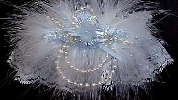 Style G2033 Bridal Garter Garter  Set Something Blue on a Ivory Lace with Rhinestone Wedding Garter