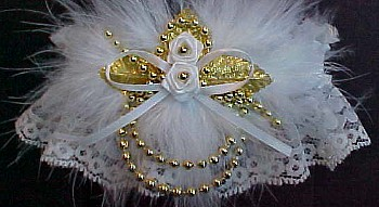 Old Gold & Ivory Wedding Bridal Garter with Marabou Feathers. Ivory and Gold Garters. garder