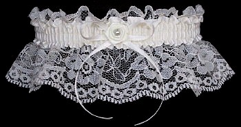 Silver and Ivory Toss Wedding Garter w/ Ivory Rose & Silver Pearl Eye. garder