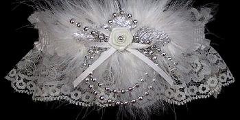 Silver and Ivory Keepsake Wedding Garter w/Silver Pearls & Marabou Feathers.garder