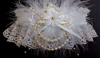Ivory Wedding Bridal Garters with Gold Floating Pearls and Marabou Feathers. garder