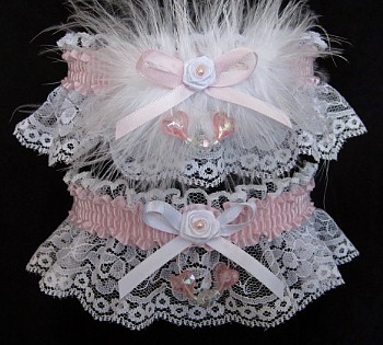 Aurora Borealis Hearts Prom Garter SET in Icy Pink on White Lace