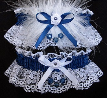 Faceted Beads Prom Garter SET in Lt Navy on White Lace