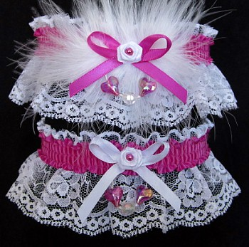 Aurora Borealis Hearts Prom Garter SET in Wild Berry on White Lace